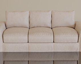 3D asset Contemporary modern leather sofa2 cream