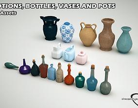 3D model Potions Bottles and Vases Bundle