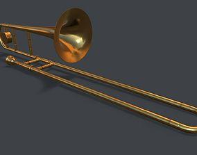 Trombone 3D model game-ready