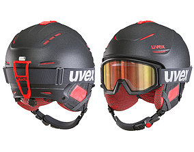 3D Ski Helmet and Goggles Uvex