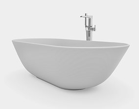 Bathroom set with round bathtub and floor mount 3D model 1