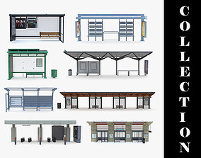 9 Bus Stop Collection 3D model