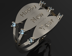 3D printable model ring Happy new year