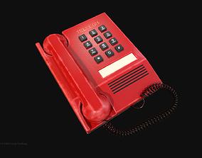 3D asset Retro Red Telephone 1980