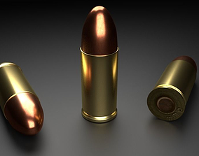 3D asset low-poly 9mm Bullet