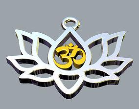 3D printable model Om symbol in lotus pendant