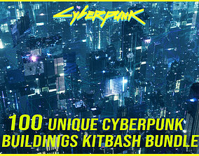100 Unique Cyberpunk Sci fi City Buildings 3D model