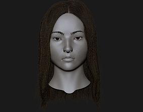 Realistic head cute asian girl 3D