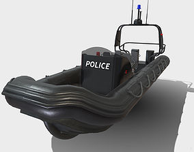 Low Poly PBR Police Zodiac Boat 3D model game-ready