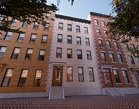 Row Townhouses New York style 3D asset