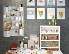 Decorative set of the office supplies 3D model