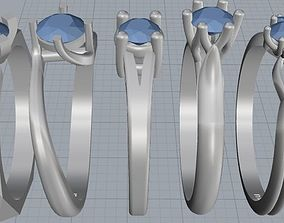 3D printable model 16 womens ring with one stone