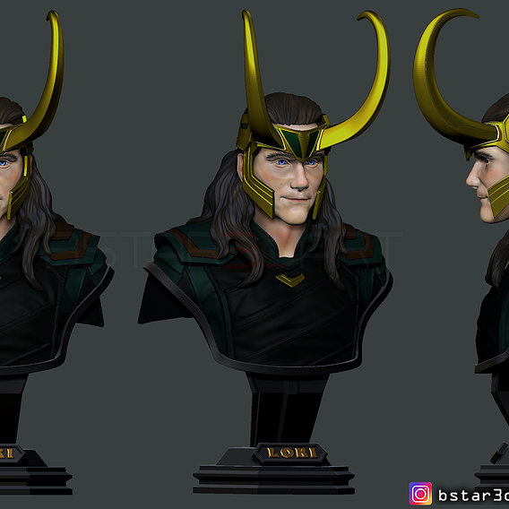 LOKI Bust With Helmet - Tom Hiddleston - - Marvel - Avenger 3D print model