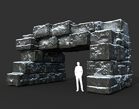 Low poly Snow Ruin Medieval Construction 08 3D model