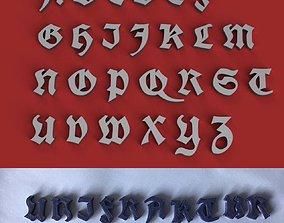 UNIFRAKTUR uppercase and lowercase 3D Letters STL FILE