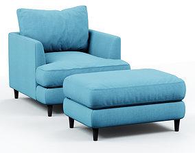 Armchair and pouf blue cloth 3D model