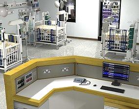 PBR Low Poly pediatric intensive care unit PICU 3D model