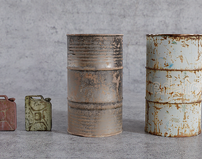 3D asset Jerrycans and barrels old and rusty