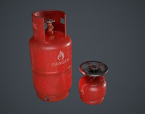 Gas Tank Big and Small Red Paint 3D asset