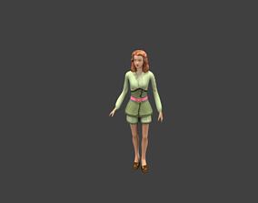 lowpoly girl 3D model