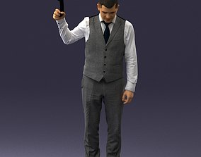 3D model Young man in vest and trousers 0455