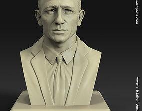 Daniel craig james bond bust statue for 3d