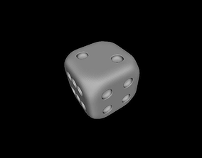3D model simple dice without texture and in black and