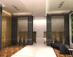 MODERN HOTEL RECEPTION ENTRANCE AREA 3D model