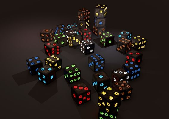 Emissive Colored Dice