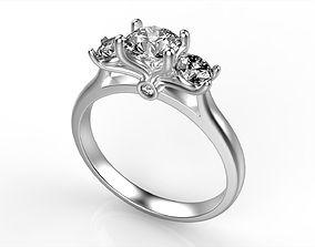 Modern Round Diamond Ring All Size 3D printable model