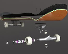 classic skateboard all parts 3D