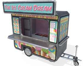3D model low-poly Ice Cream Truck