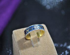 3D printable model wedding Ring with enamel