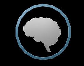 Low poly brain symbol 3D model