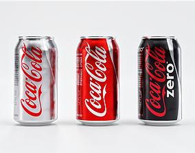 3D asset Set of Coca Cola Cans - Classic Zero Diet Coke