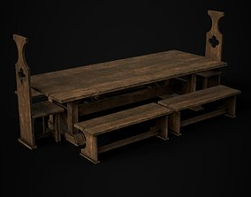 Medieval Dining Table Set 3D model low-poly