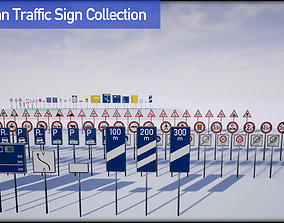 3D model German Road Sign Collection - UE4 native - FBX