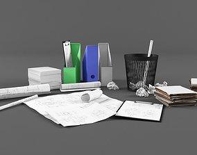 Office paper set 3D asset