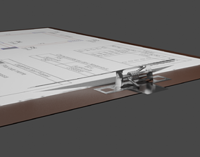 3D model office clipboard