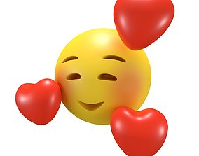 Smiling Face With Hearts 3D asset