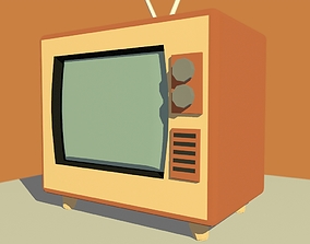 3D model old TV toony low poly style