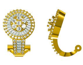 3D print model Classic round shape earrings baguette cut 1