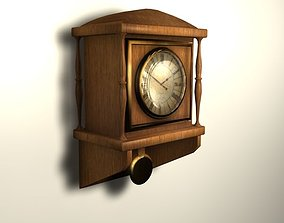 Wooden wall clock 3D