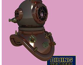 3D asset VR / AR ready Chinese diving helmet