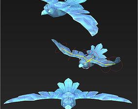 3D asset Clash royale style animated flying dove fantasy