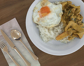 Plate of Food Rice and Egg 3D model