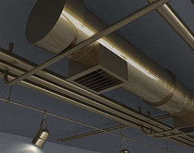 Pipes with beam lights and floor net decoration 3D model