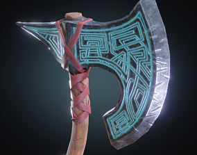 Stylized PBR low poly fantasy Axe 3D asset