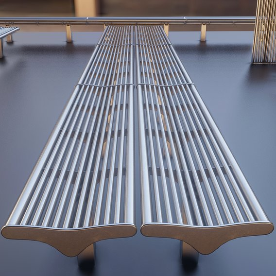 Bench 5 Low-Poly Stainless Steel Version 2