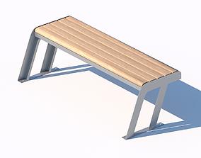 3D wooden street bench model